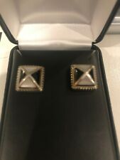 Signed Asch Grossbardt Mother of Pearl and Onyx Sterling and 18kt Earrings