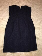NWT J Crew $228 Cathleen  Strapless  Lace Dress Navy Blue Bridesmaid Sz 8 #02846