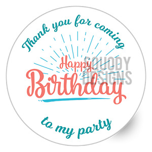 Birthday Party Printed Round Stickers - Custom Craft Labels - Personalised