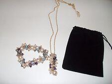 Conjunto De Collar Y Pulsera, azul, púrpura y crema. nuevo