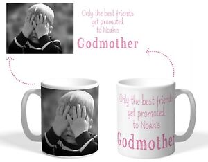 Personalised Printed Mug, Friends promoted to Godmother, Christmas photo gift