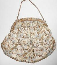 Antique/Vintage Beaded Evening Handbag Purse Cream Satin Lining