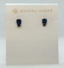 New Kendra Scott Harriett Stud Earrings In Blue Drusy / Matte Silver