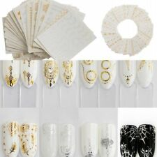 30Pcs Gold Silver Feather Flower Spider Design Set Water Decal Nail Art Stickers