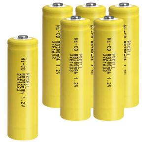 1.2v 300mAh AA Rechargeable Battery Ni-Cd for Garden Solar Lights 6pcs