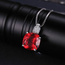 4.9ct Sq Pigeon Blood Ruby & cz Necklace Pendant Solid Silver Special Occassion
