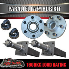 x2 Gal Parallel 6 Stud Trailer Hubs, Bearings & 50mm Solid Stubs. 6/139.7 PCD