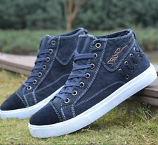 UK Men Casual Fashion Denim Lace up Flat Shoes High Top Board Shoes Loafer Comfo