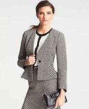 Ann Taylor - Petite 8P Black & White Graphic Flounce Wool Blend Jacket $179 (H)