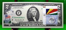 MONEY US $2 DOLLARS 2013 FRN  ATLANTA COIN AND FLAG OF SEYCHELLES GEM UNC