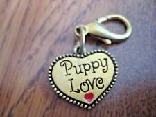Gold Puppy Love Heart Shaped Tag Charm Zipper Pull NEW
