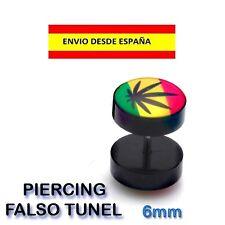 PIERCING DE OREJA ESMALTE PIOCHA HOJA RASTA PUNK POP ZARCILLO ACERO FALSO TUNEL