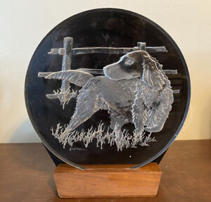 """Vintage Art Signed Etching Lucite Sculpture Round Hunting Dog Campbell 7.5"""""""