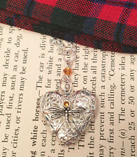 Outlander Dragonfly in Amber Heart Locket Diffuser Scottish Irish Necklace