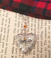 Outlander Dragonfly in Amber Heart Locket Diffuser Scottish Irish Necklace