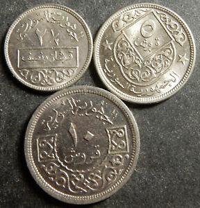 Syria Complete base metal set 2½+5+10 Piastres 1948 1956 Top grade Rare!