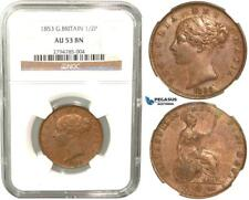 R433, Great Britain, Victoria, 1/2 Penny 1853, NGC AU53BN