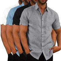 Mens Short Sleeve Shirts Button Down Top Tee Spread Collar Plain Summer Shirt UK