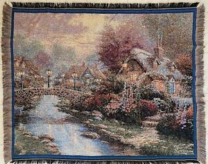 Thomas Kinkade Painter of Light Tapestry Throw 2002 Avon Exclusive Made in USA