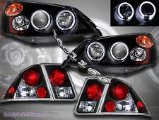 01 02 03 Honda Civic 4 Door Projector Headlights Blk 2Halo + JDM Blk Tail Lights