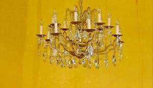 antiker Kronleuchter Kristall, Pampille, antique crystal chandelier  c25