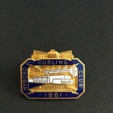 New listing VINTAGE CURLING PIN HYBORO CURLING CLUB 1961 (Birks missing screw on back)