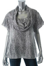 New HUGO BOSS Gray 100% Silk Print Cowl Neck Short Sleeve Blouse Shirt Top sz 6