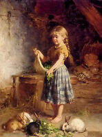 Beautiful art Oil painting heinrich hirt - Young girl feeding the rabbits canvas