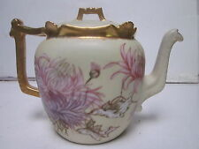 ANTIQUE T & V LIMOGES SURPRISE PATTERN HAND PAINTED FLORAL DESIGN TEA POT