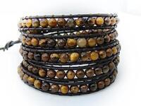 MENS WOMENS TIGER EYE Wrap Bracelet all 4mm beads Brown leather fashion bracelet