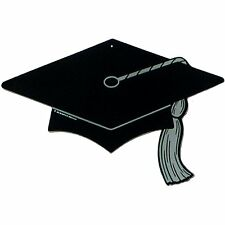 "6 pieces Graduate hat / cap Silhouette 16"" x 11"" black, decoration pin up"