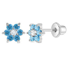 Rhodium Plated Flower Baby Earrings Blue Crystal Safety Screw Back Toddlers