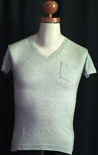 """""""Re Rock"""" Herren T-Shirt Slim Fit grau meliert kurzarm V-Ausschnitt  S,44/48 neu"""