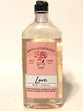 NEW 1 BATH & BODY WORKS AROMATHERAPY LOVE ROSE + VANILLA BODY WASH & FOAM BATH