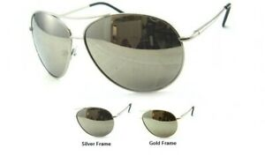 New Mens Womens Aviator Oversized Sunglasses Silver or Gold Frame Mirrored Lens