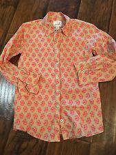 Peek Girls Button Down Blouse Top Size Large (8) Khaki And Pink Floral Print
