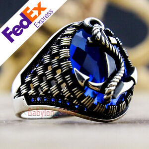 925 Sterling Silver Sapphire Stone Turkish Handmade Anchor Men's Ring All Sizes