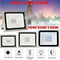 RGB LED Flood Light 100W 50W 30W Outdoor Landscape Party Lights Remote Control