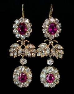 Estate 6Ct 18K Yellow Over Red Ruby with Diamond Chandelier Drop Dangle Earrings