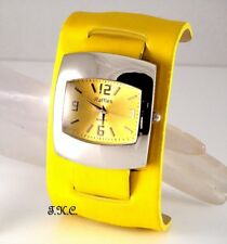 Ossie Eame Retro 60s 70s Club Bubble Pod Yellow Faux Leather Ladies Cuff Watch