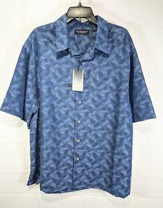 ROUNDTREE & YORKE Big Men Blue Metallic S/S Sqre Tail Button-Up Shirt sz 3XT NWT