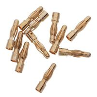 10PCS Gold Tone 4mm Male Banana Plug Bullet Connector Replacements R5J7