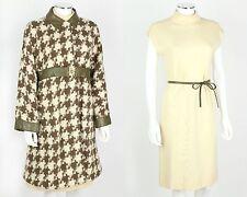 VTG 1960s BONNIE CASHIN SILLS 2PC OLIVE IVORY HOUNDSTOOTH WOOL COAT DRESS SET