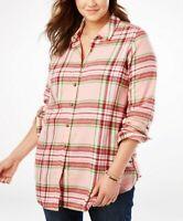 Women's PLUS SIZE 26/28 2X 3x 4x COTTON Plaid Flannel Shirt Long Sleeve Top PINK