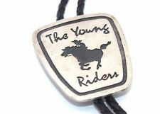 HEAVY Vtg SIGNED Modernist THE YOUNG RIDERS Sterling Silver BOLO Tie by NEWMAN