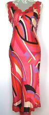 Oasis Midi Silk Slip Dress UK 10 Pink Red Lace Delicate Sexy Flirty Bias Cut