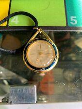 Vintage Sheffield Shock Resistant Watch Pendant Flowers Enamel Necklace working