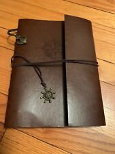 Leather Bound Black Page Notebook Scetch Journal Scrapbook Nautical New