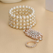 Bracelet Ring Set The Great Gatsby 1920s Bridal Pearl Stretch Silver Gift 1pc