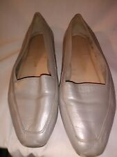 Enzo Angiolini Liberty Women's Shoes 8.5 M Silver Leather Loafers Flats Brazil